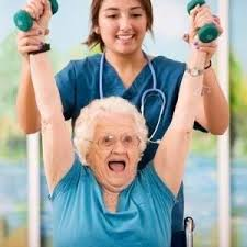elderly lady lifting weights