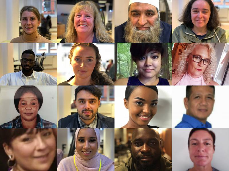 a collage of carers faces