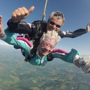 elderly person skydiving
